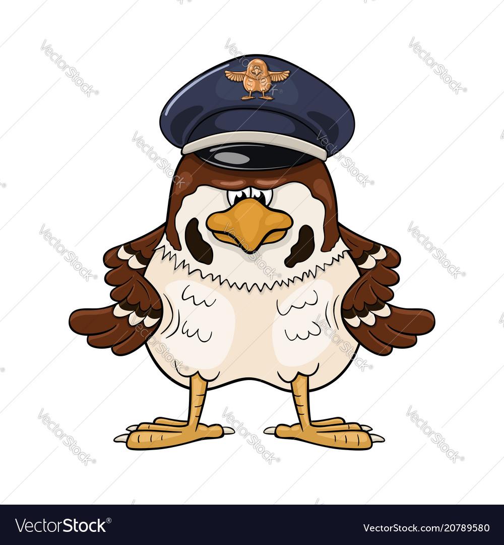 Funny cartoon sparrow in pilot service cap