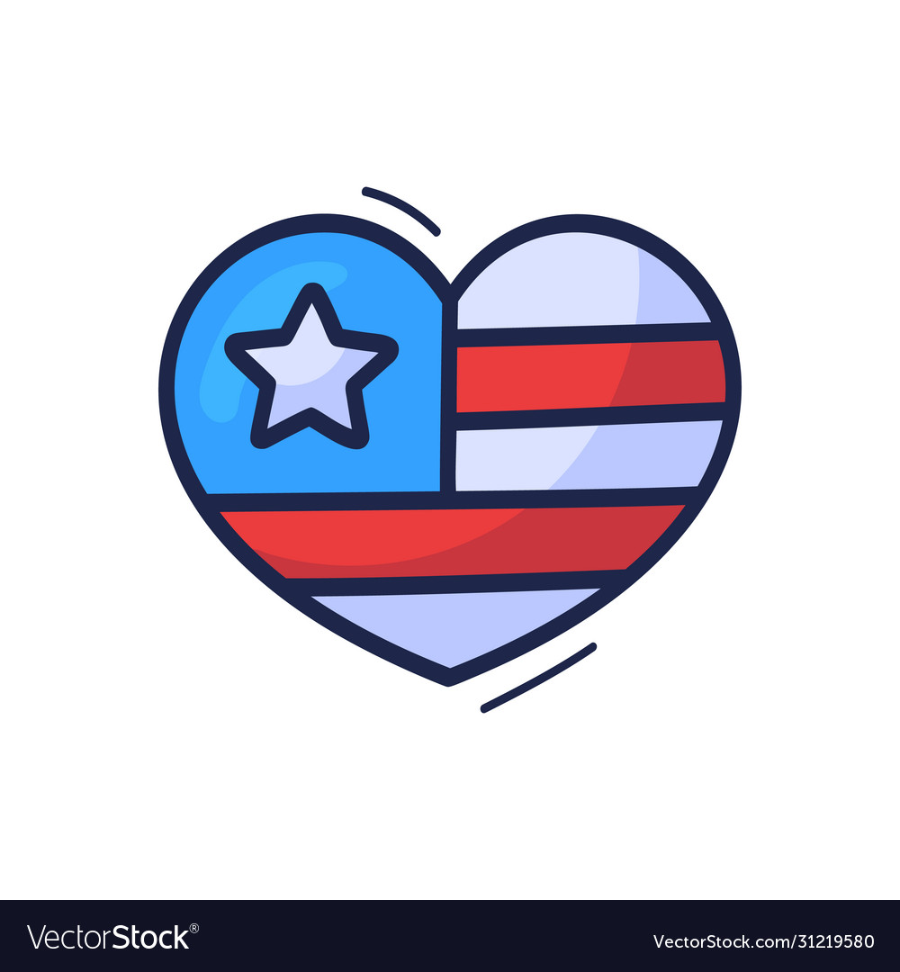 Hand draw cartoon american flag in heart sign
