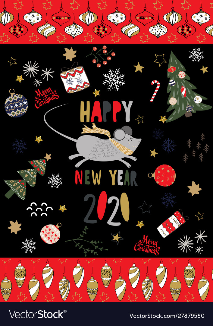 Merry christmas and a happy new year 2020 card