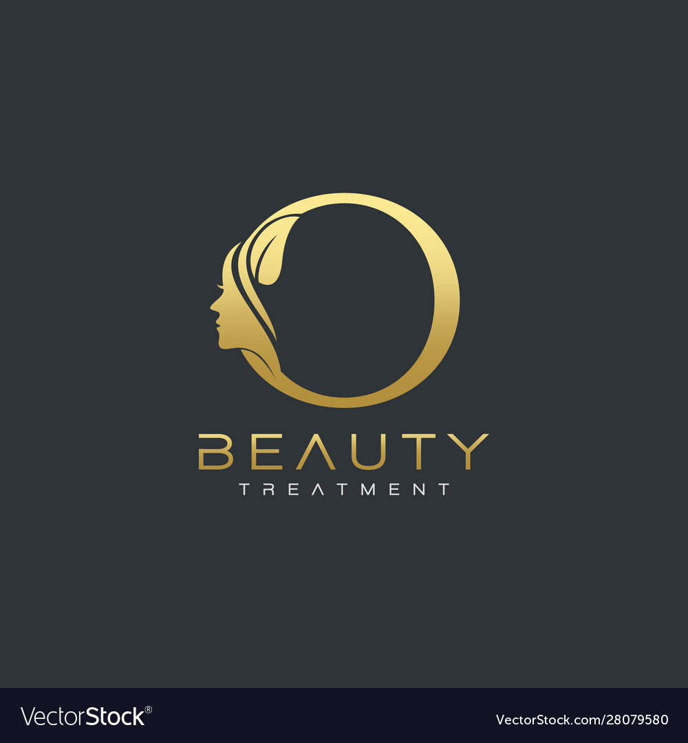 O Letter Luxury Beauty Face Logo Design Royalty Free Vector