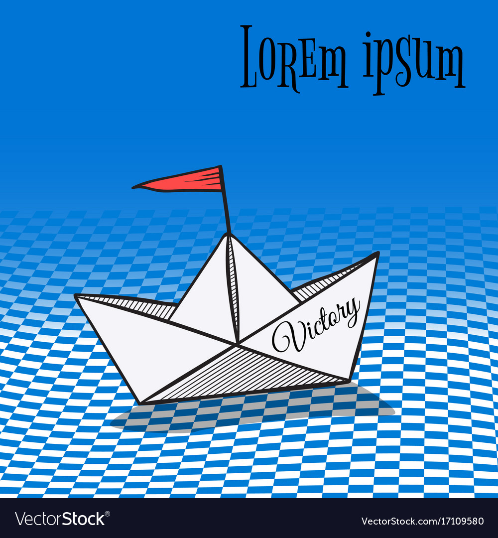 Origami made sailing boat paper art style vector image
