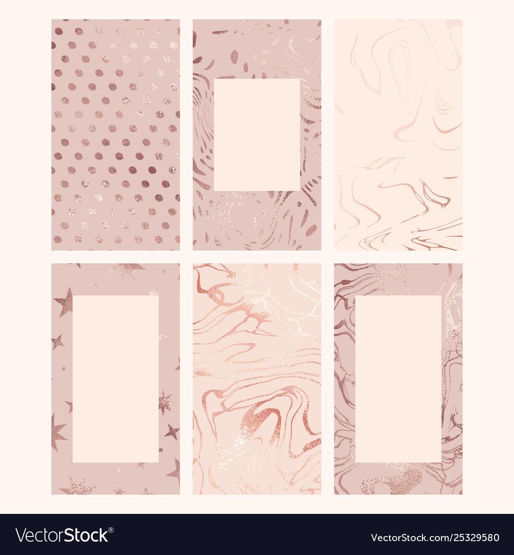 Rose gold set backgrounds for social media and