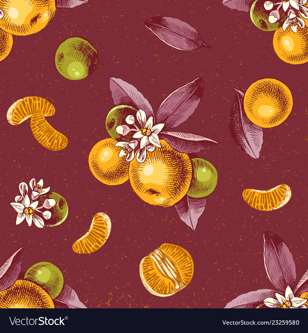 Seamless pattern with mandarin branches and slices