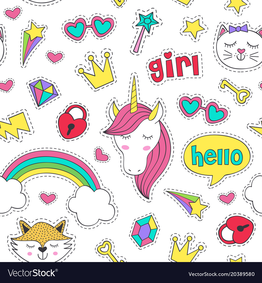 Seamless pattern with stickers for girl