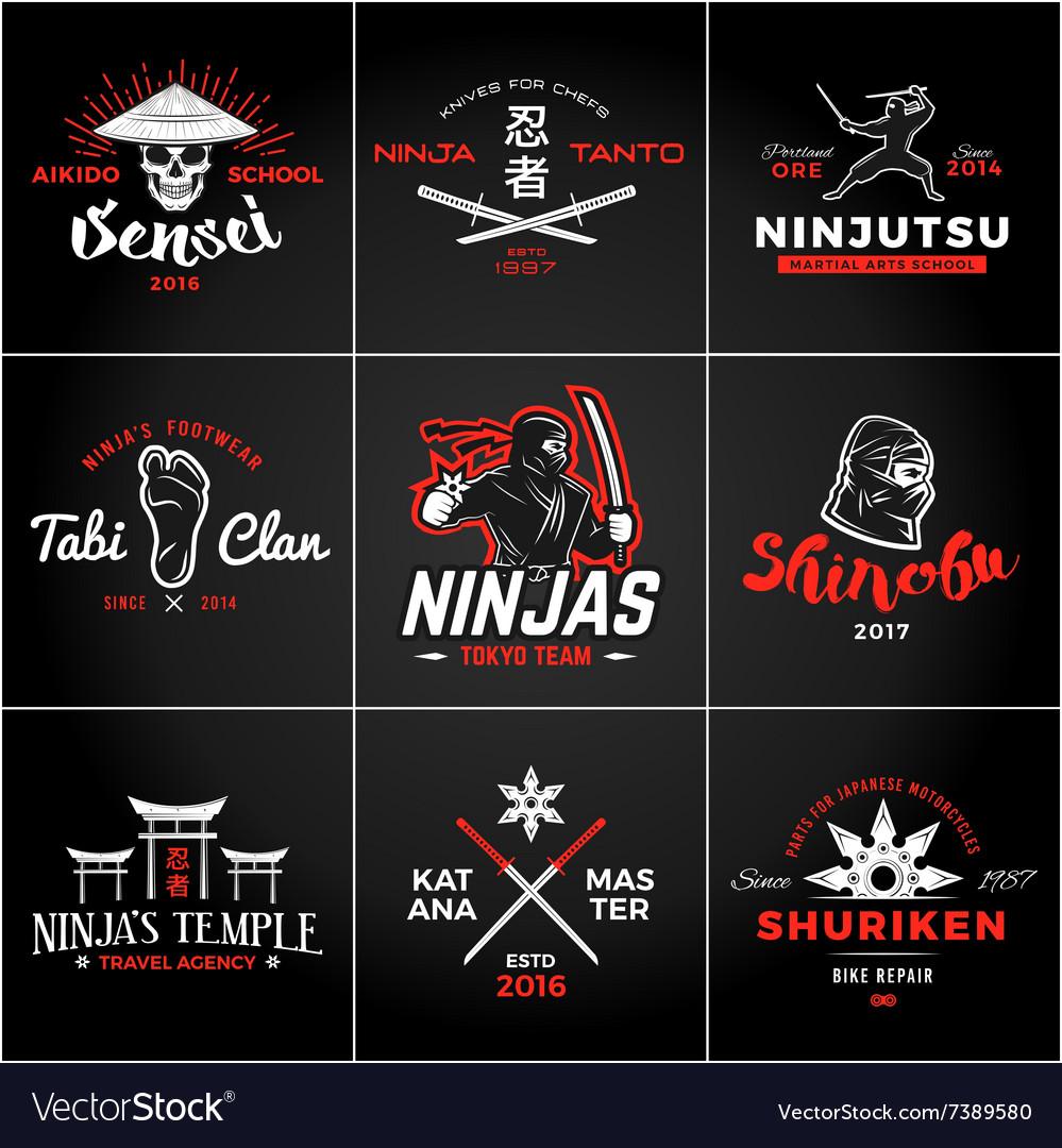 Set of Japan Ninjas Logo Katana weapon insignia