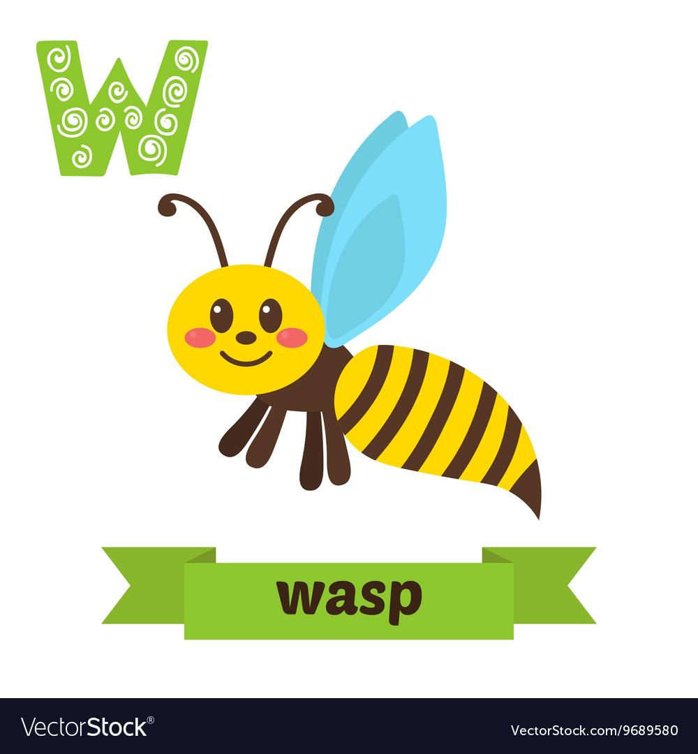 Wasp W letter Cute children animal alphabet in