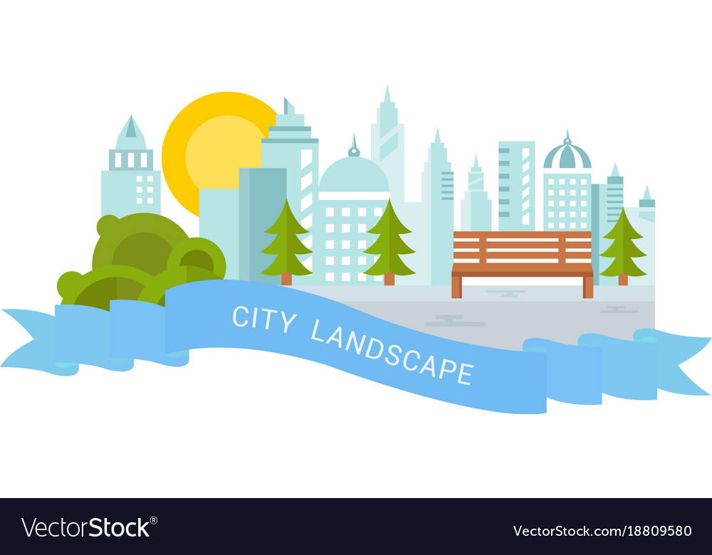 Website banner and landing page city landscape