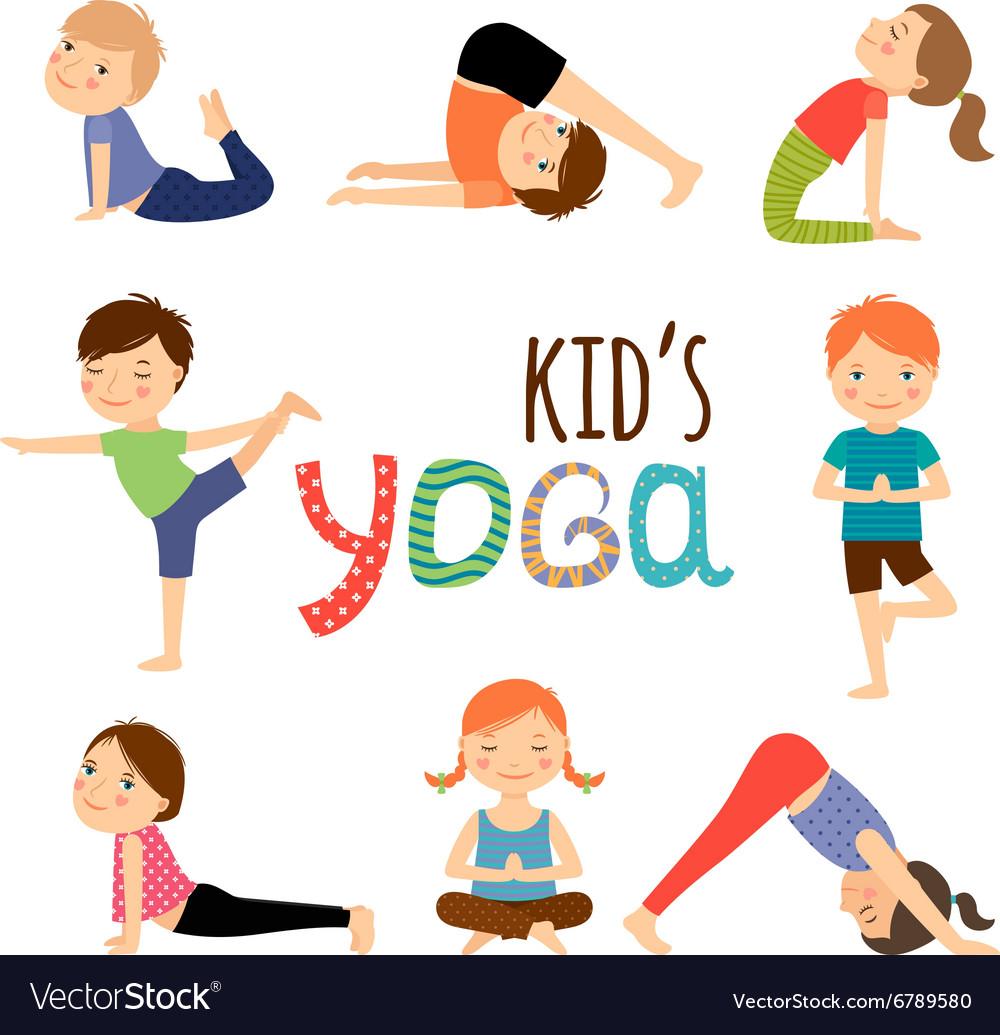 Yoga Kids Set Royalty Free Vector Image Vectorstock