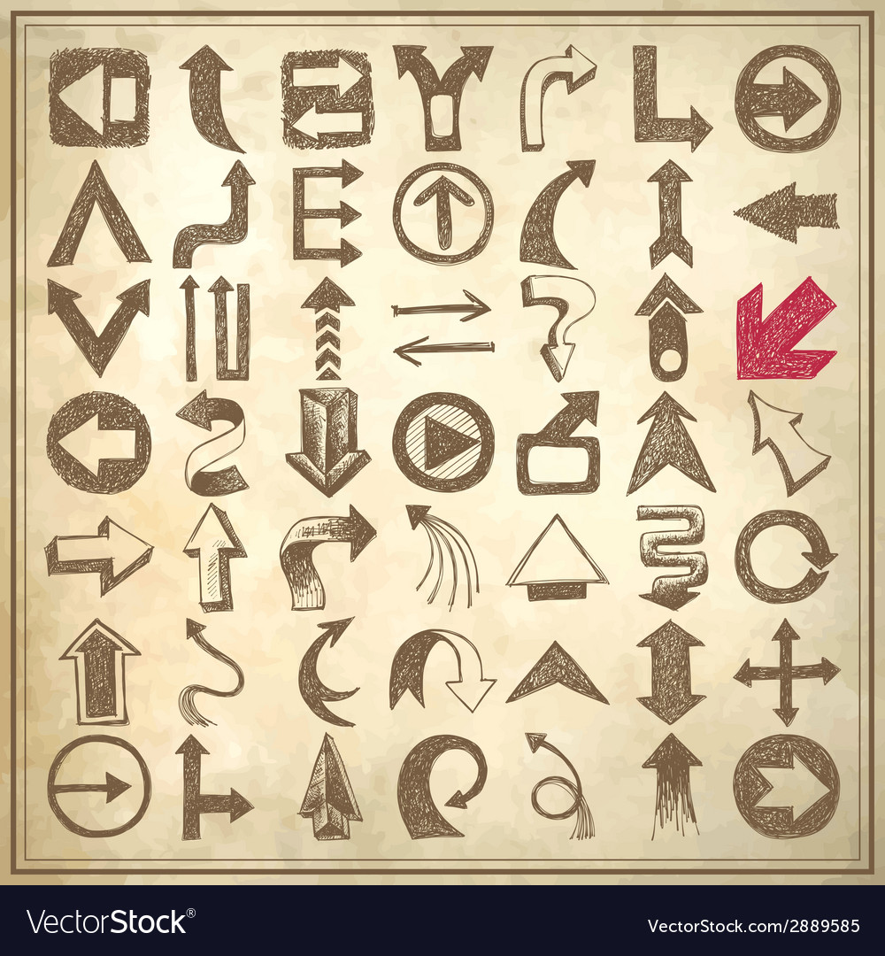49 hand draw sketch arrow element collection icons