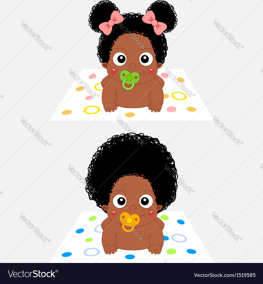 African baby boy and girl vector image