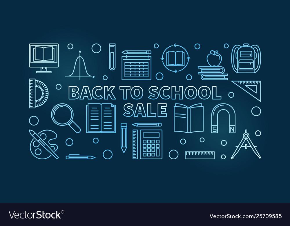 Back to school sale blue concept linear