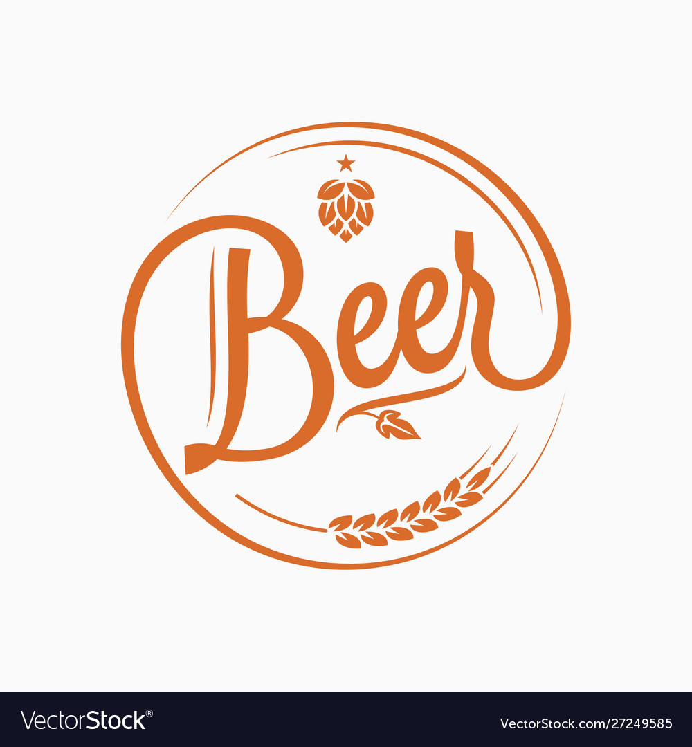Beer logo with beer hops and wheat on white