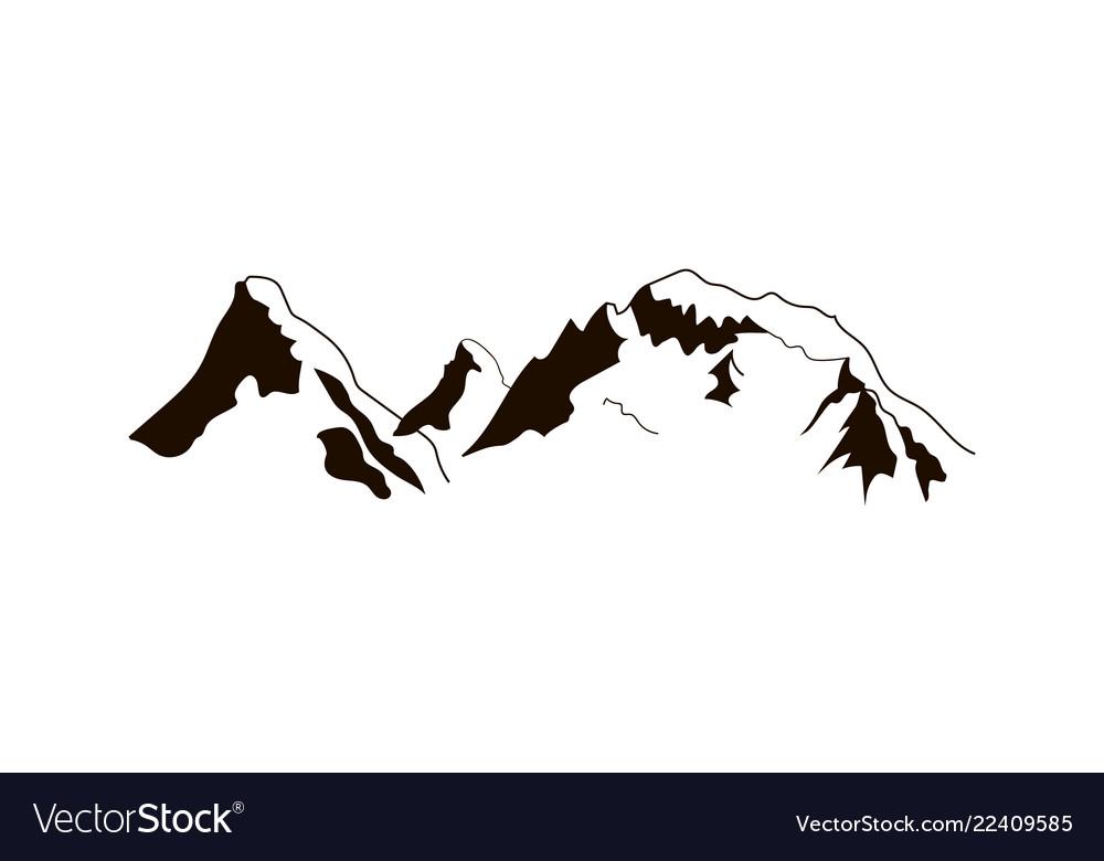 Black mountains peaks ridge vintage logo