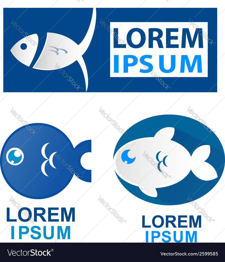 Fish symbol set vector