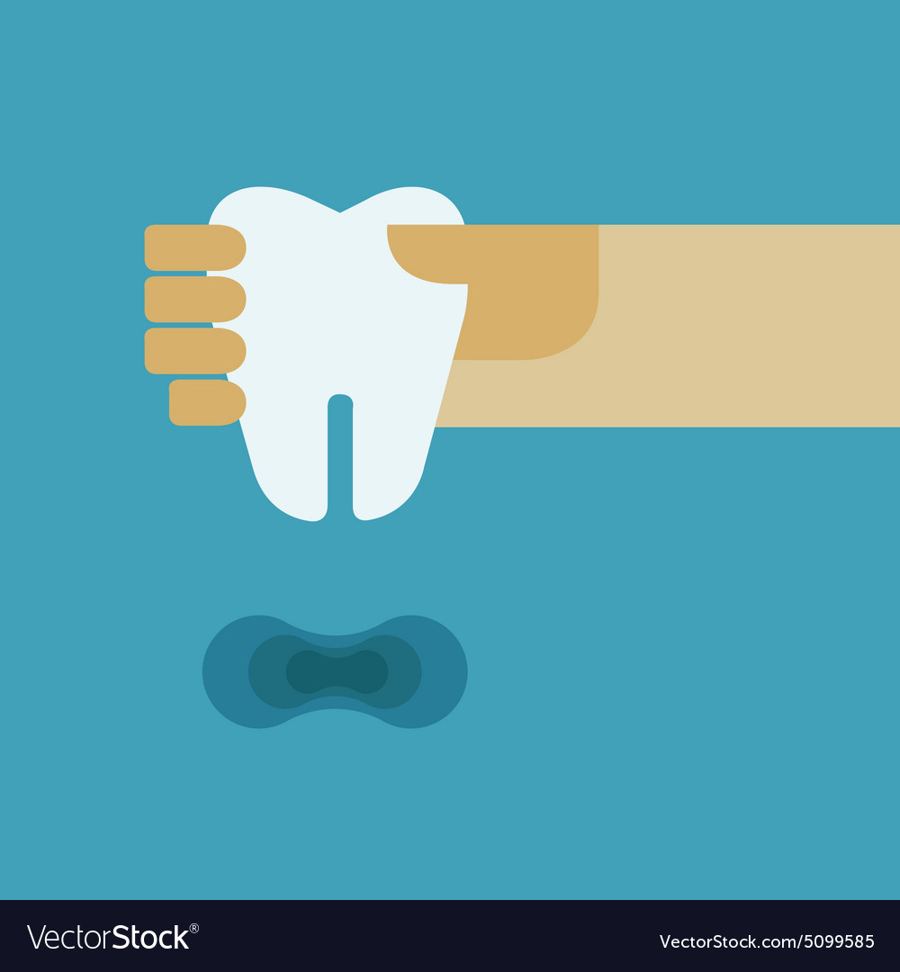 Hand holding the tooth