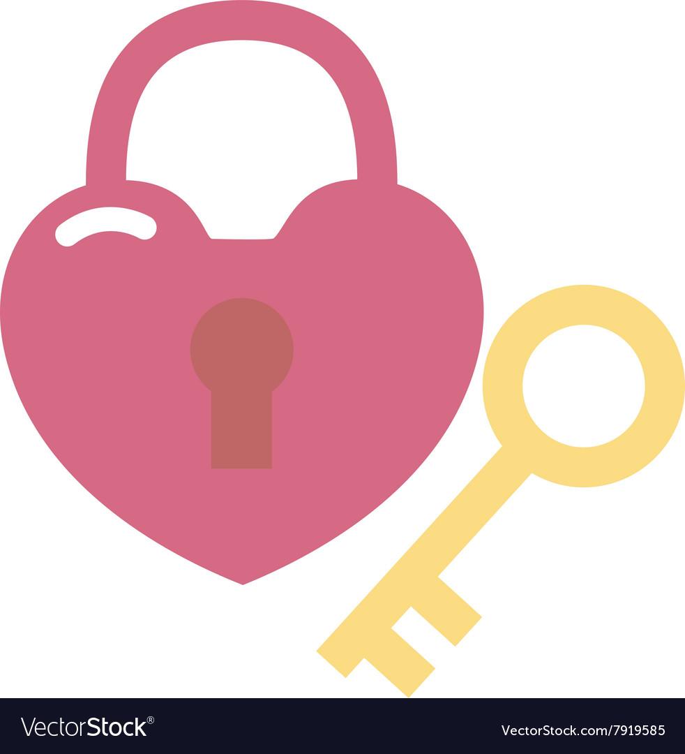 Heart lock and key flat valentine design