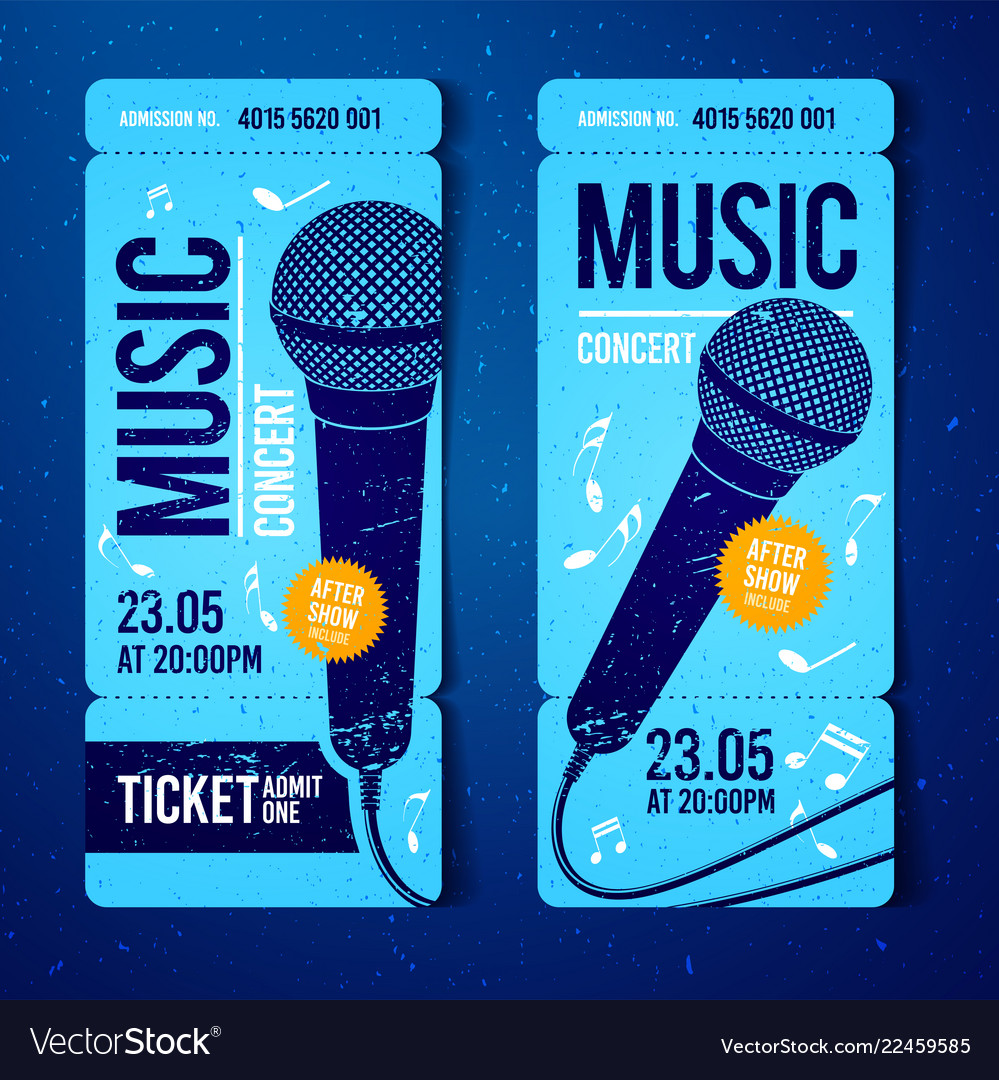 Concert Ticket Template | Music Concert Ticket Template With Microphone Vector Image