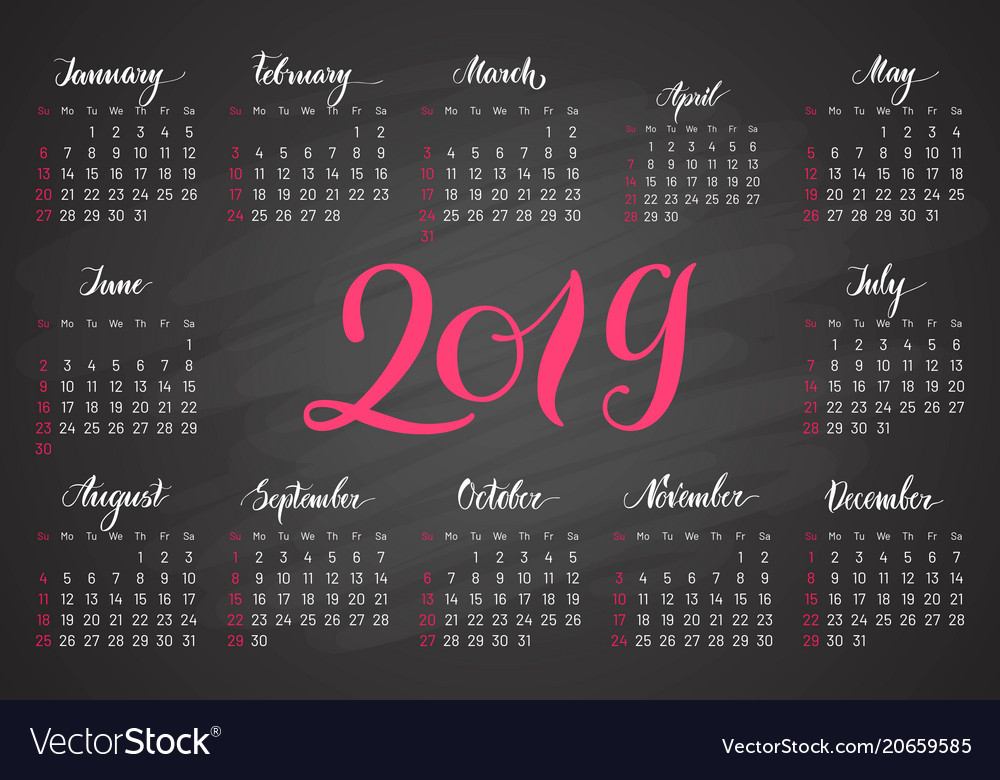 pocket calendar 2019 in dark colors lettering vector image