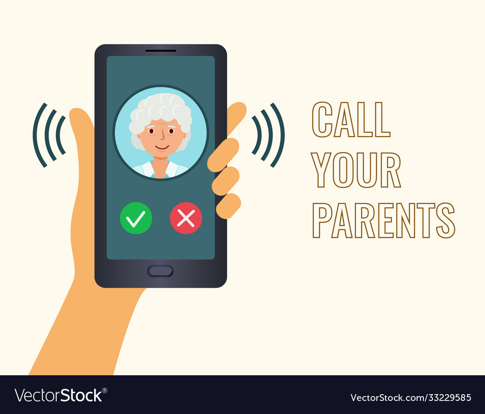 Poster call your parents hand holding phone