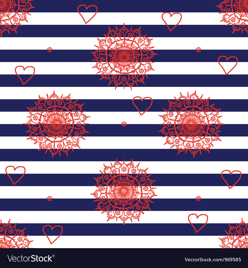 Seamless flower pattern with navy stripes