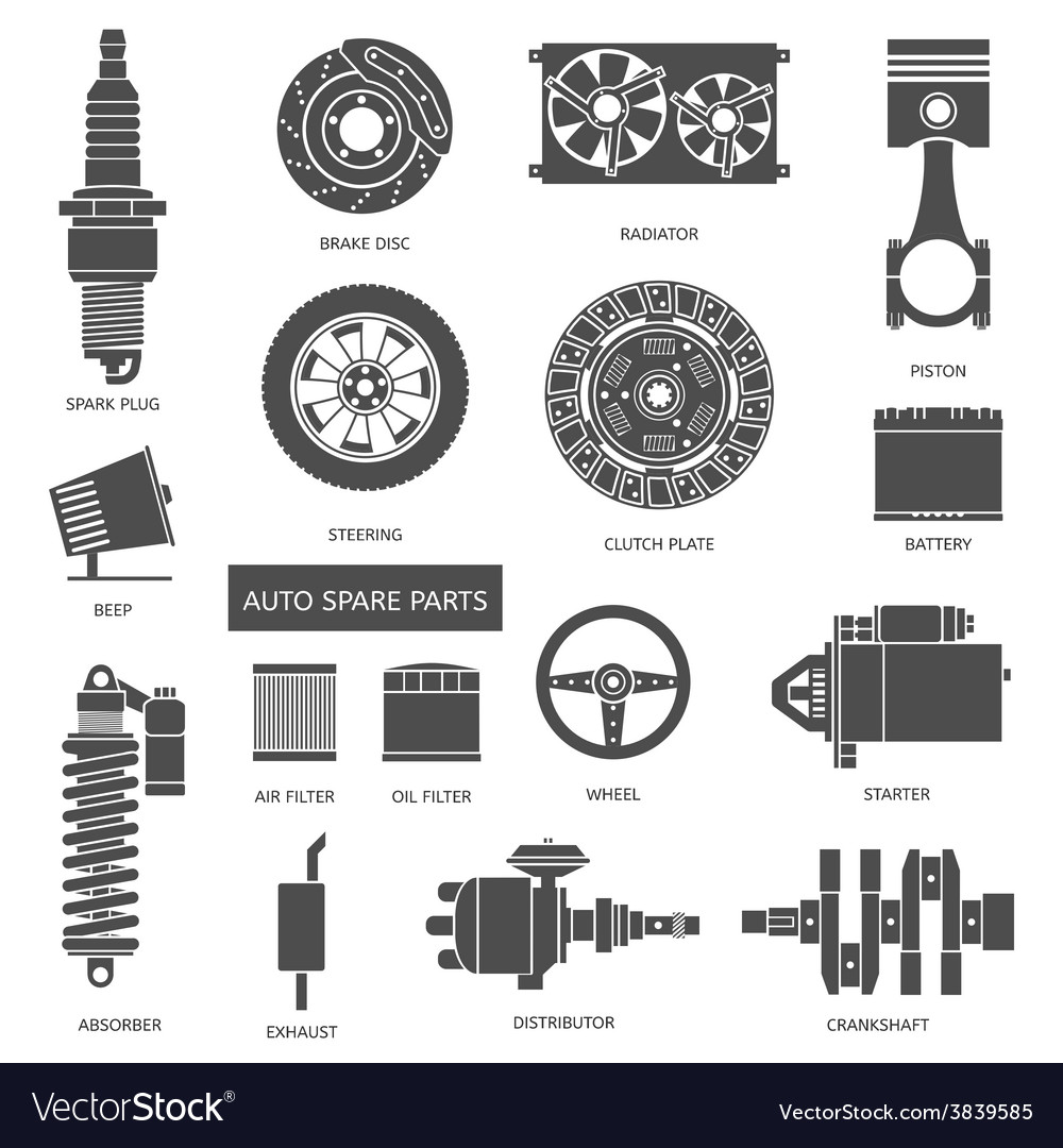 Set auto spare parts car repair icons in flat vector