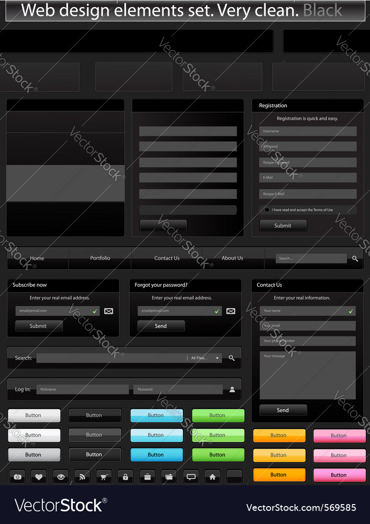 Web design elements set black