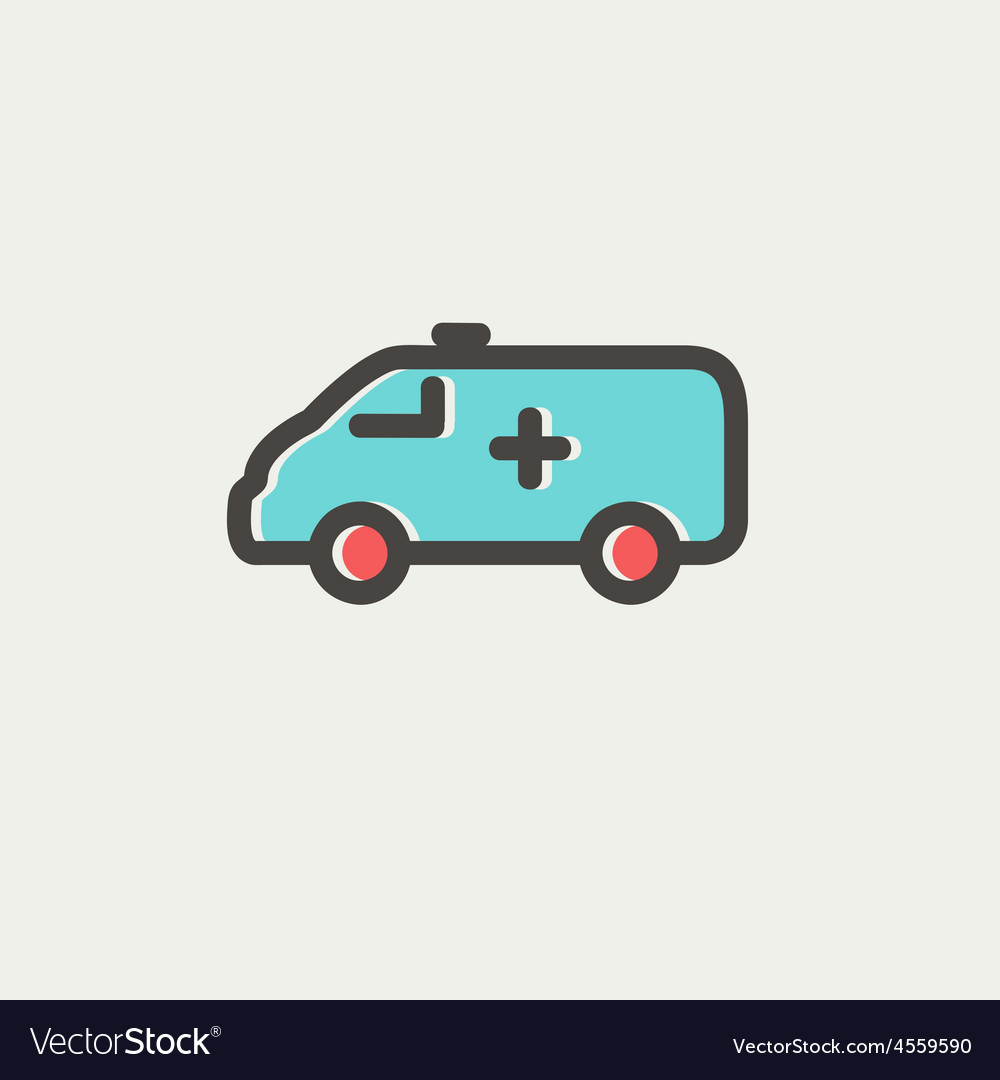 Ambulance car thin line icon