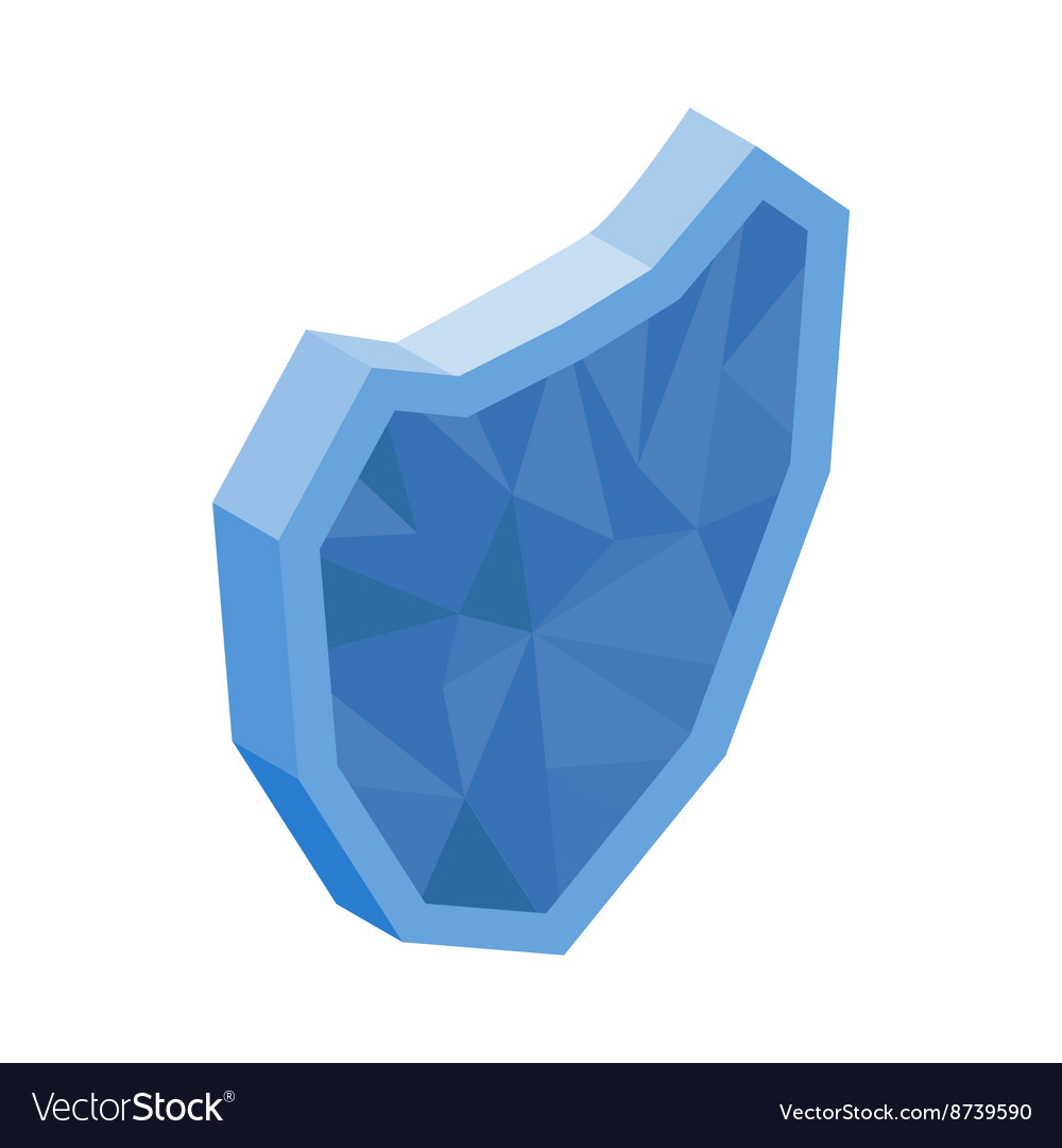 Blue glass shield icon isometric 3d style