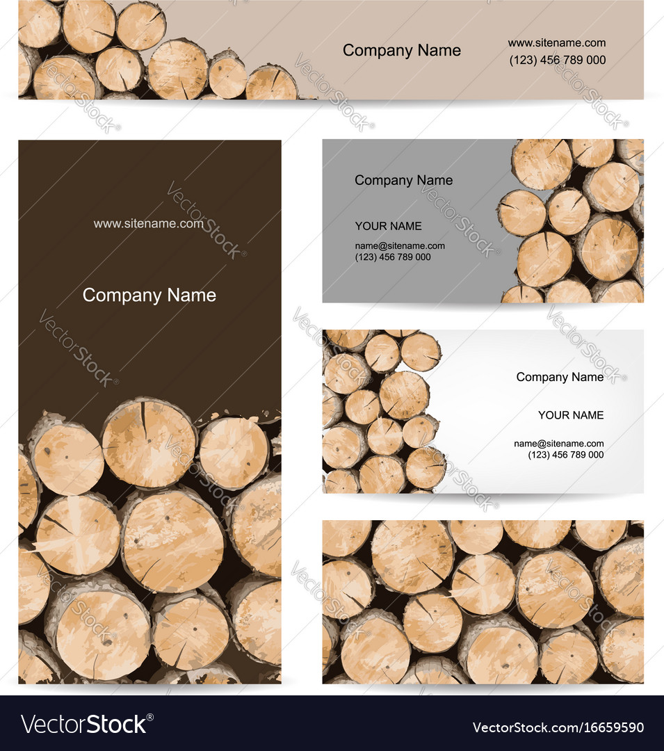 Business cards design stack of wood