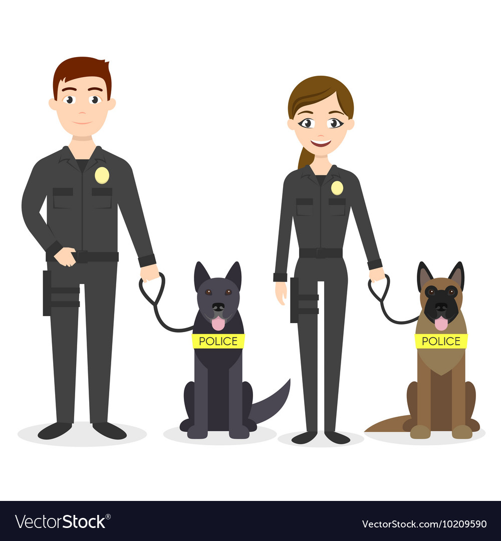 Characters two young police officers man and woman vector image