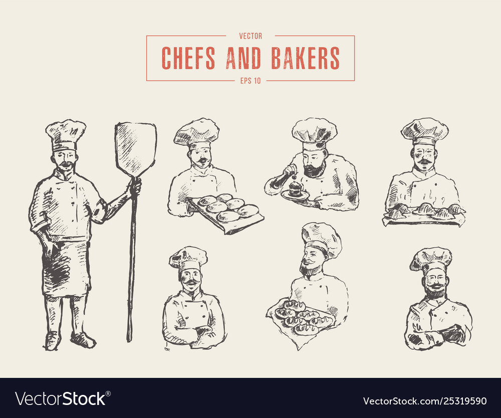 Collection chefs bakers hand drawn sketch
