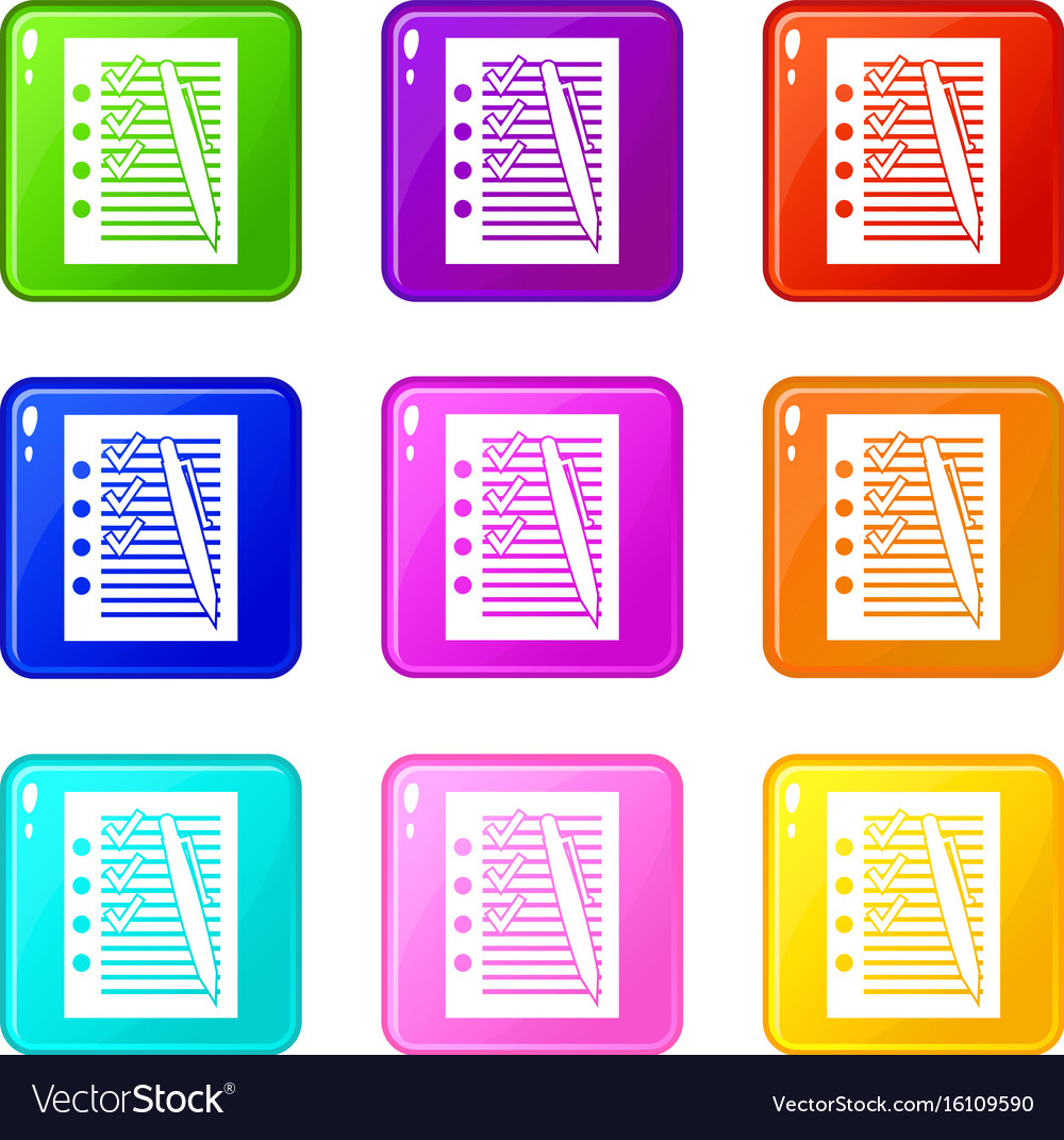 Document with plan and pen set 9 vector image