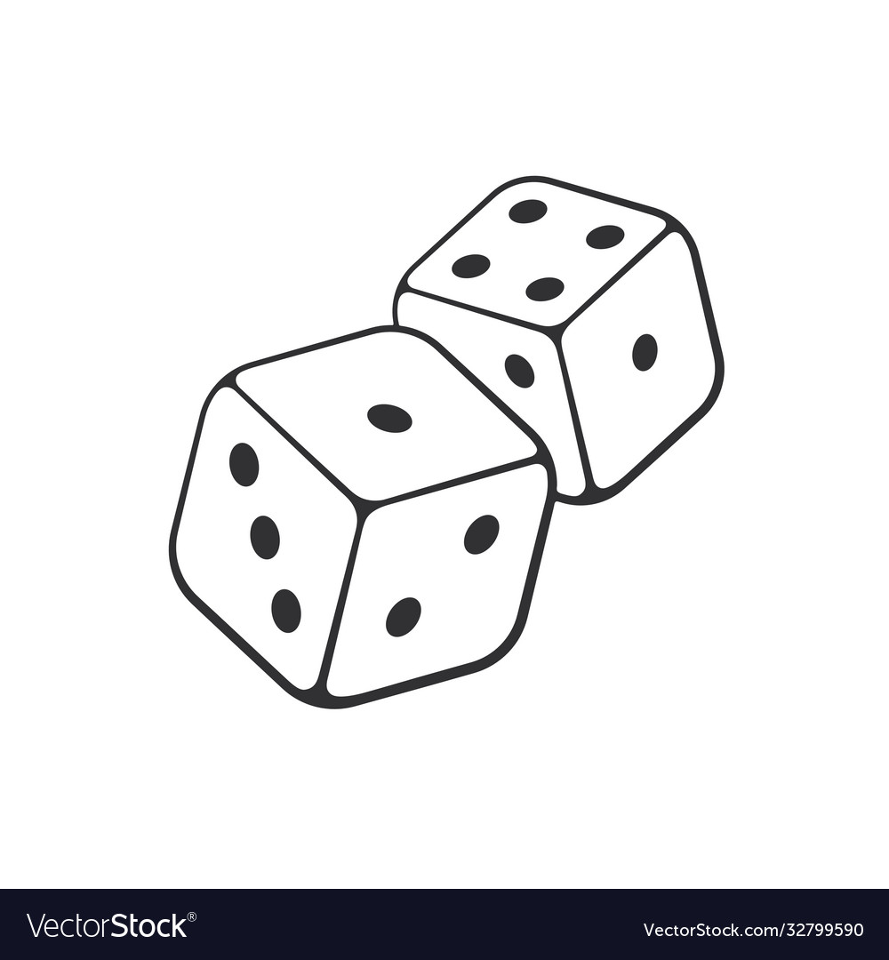 Doodle two white dice with contour vector