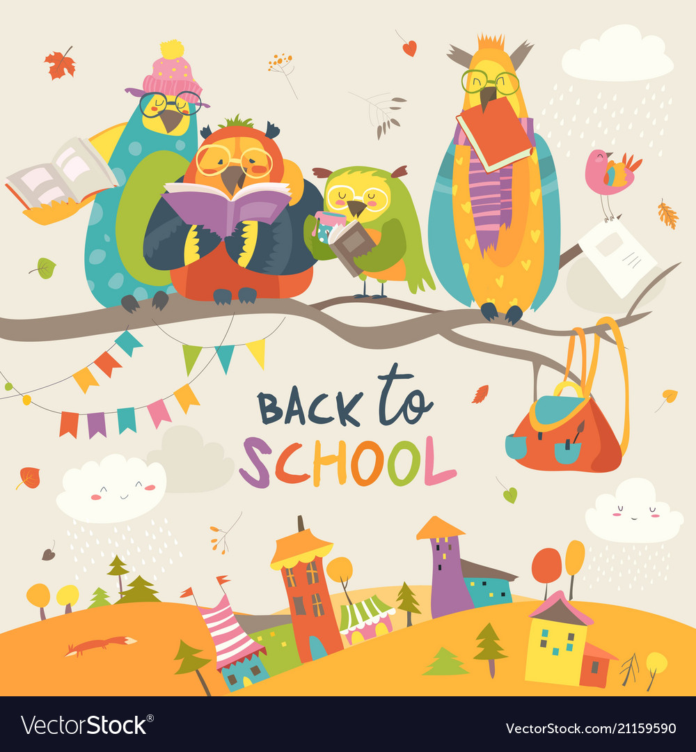 Funny owls on the autumn branch back to school