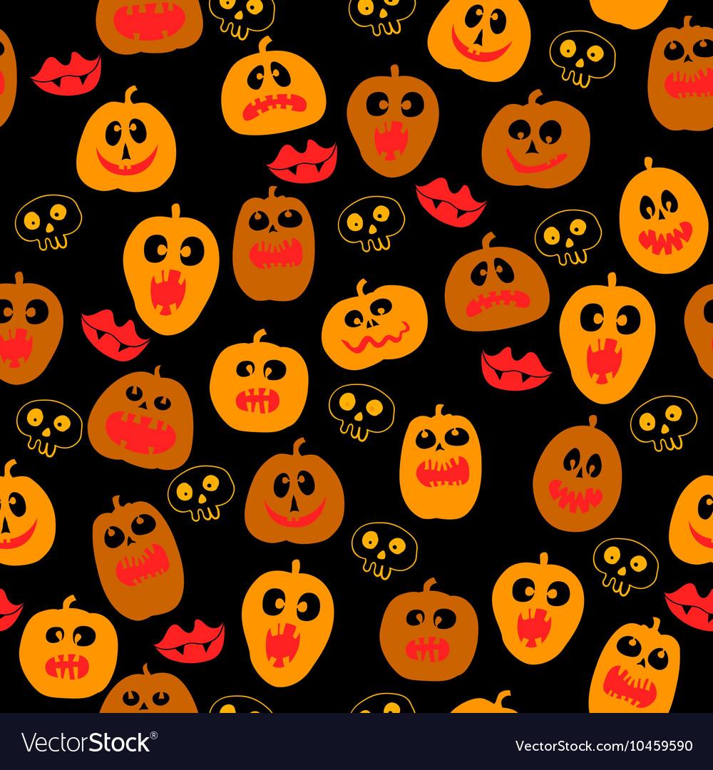 Halloween seamless pattern with Pumpkin silhouette