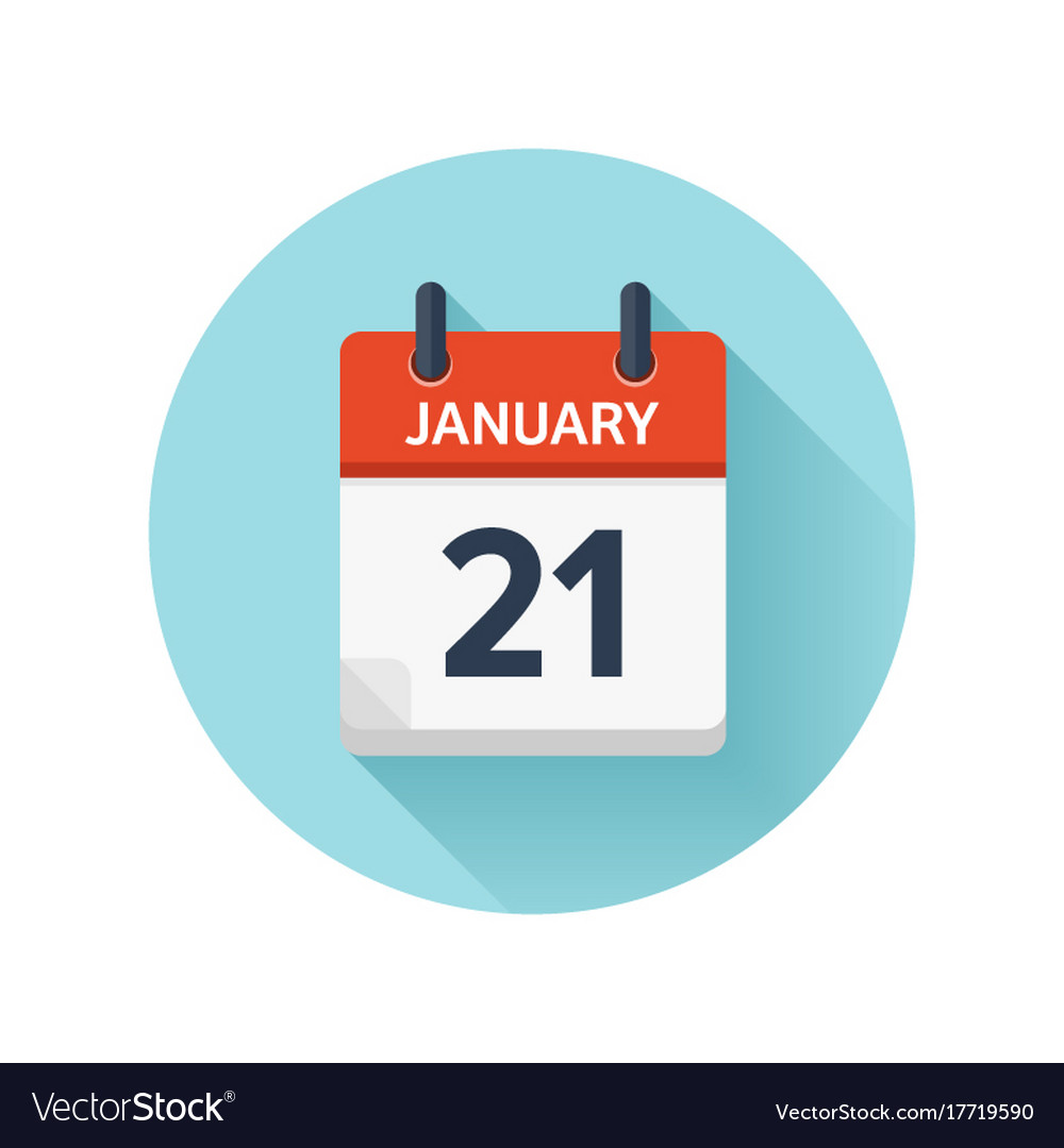january 21 flat daily calendar icon date vector image