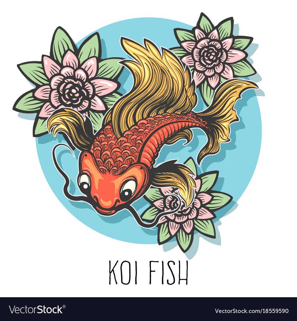 Koi fish hand drawn