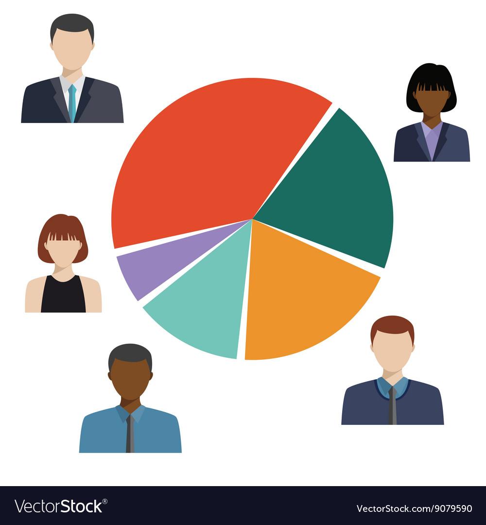 Pie Diagram Demographic Statistic Information Vector Image