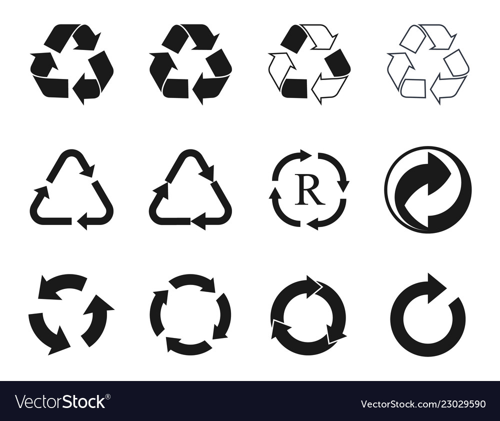 Recycling icons set recycled cycle arrows symbol