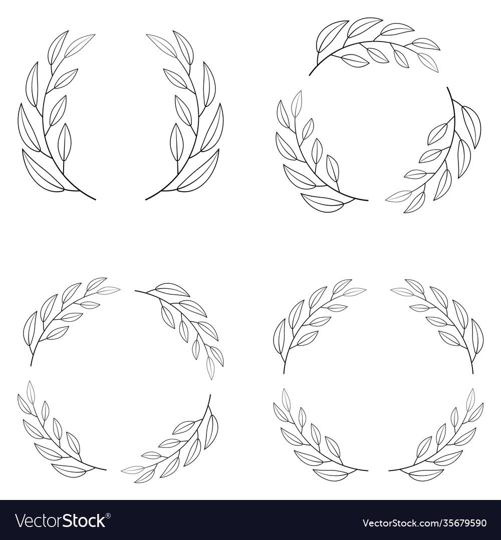 Set borders photo frame circle laurel wreath
