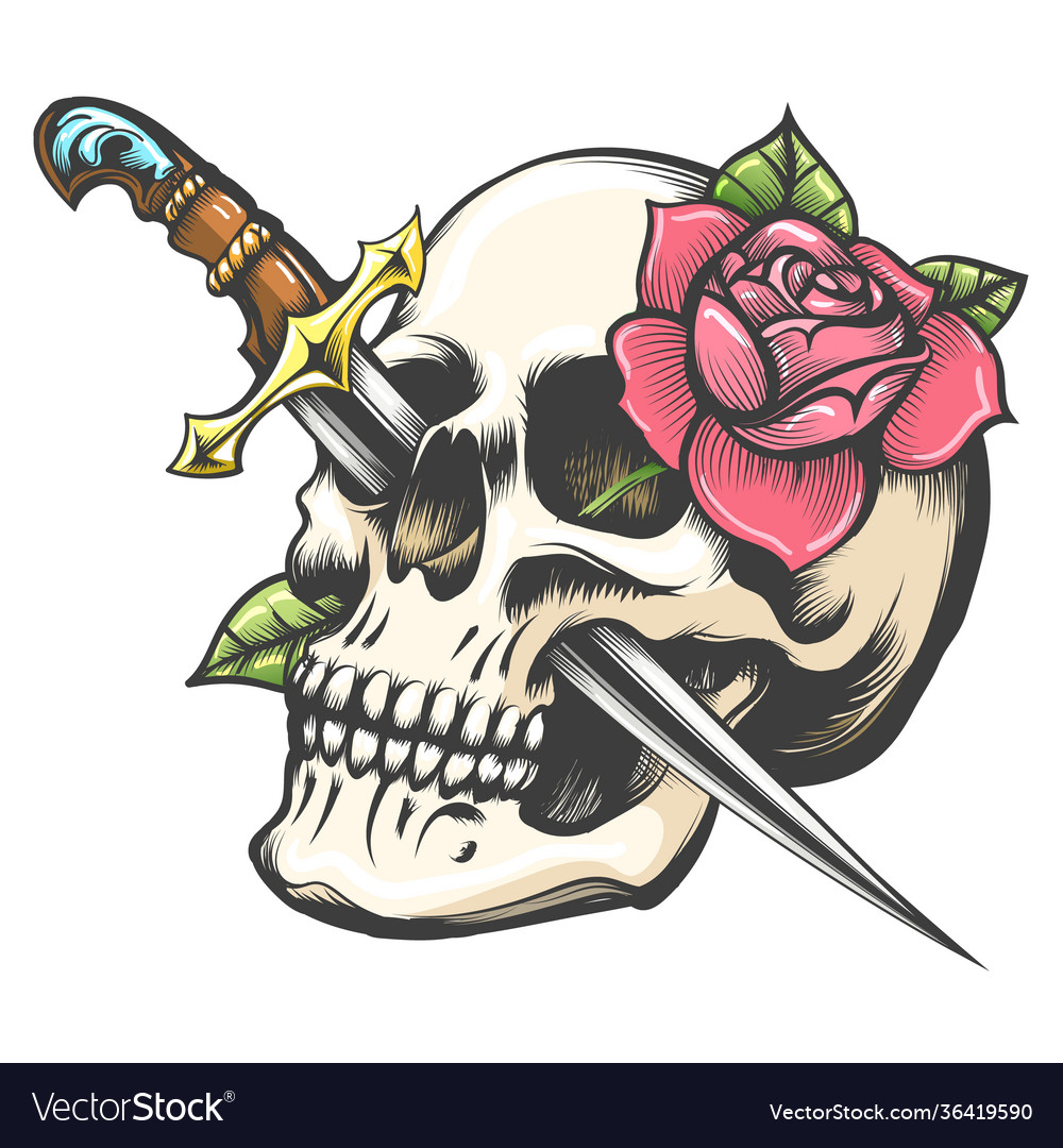 Skull with dagger and rose flower tattoo