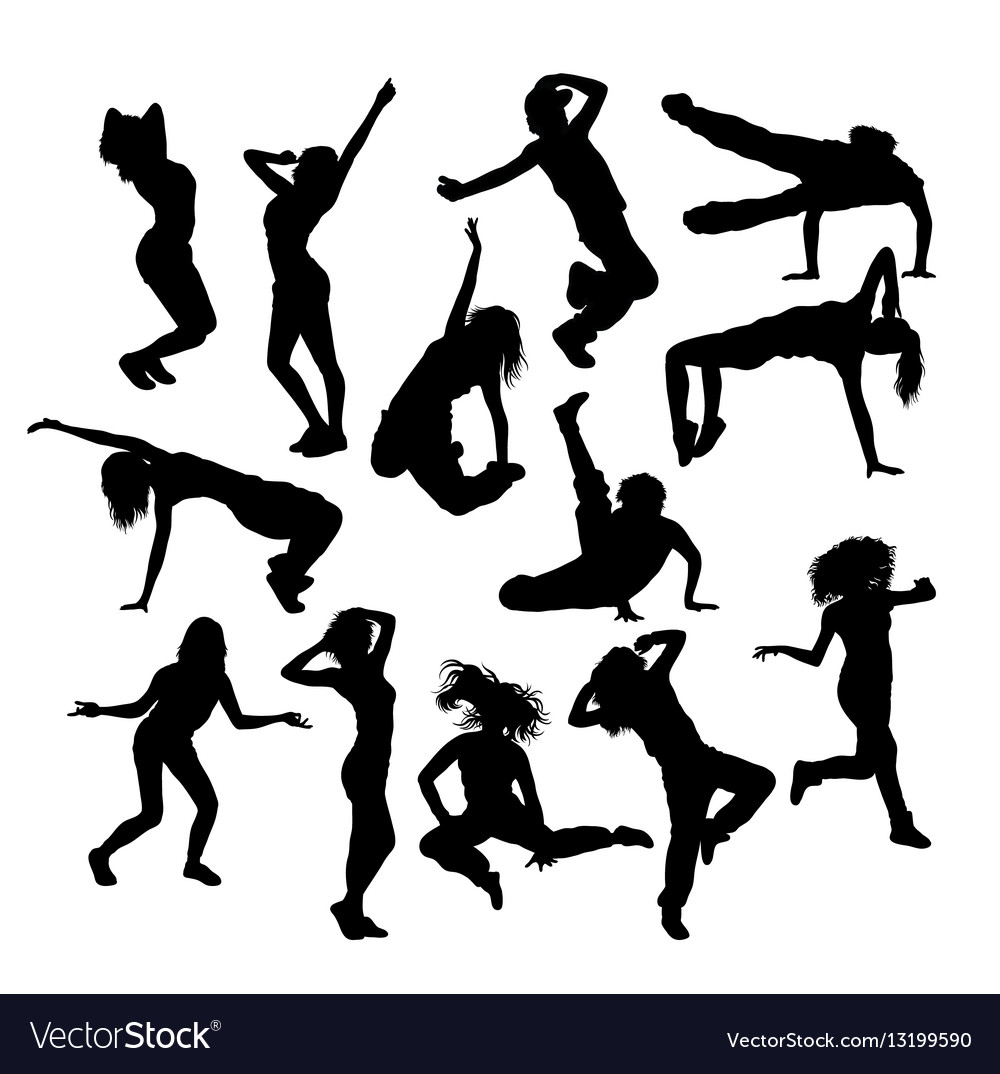 Various styles of hip hop dancer silhouette