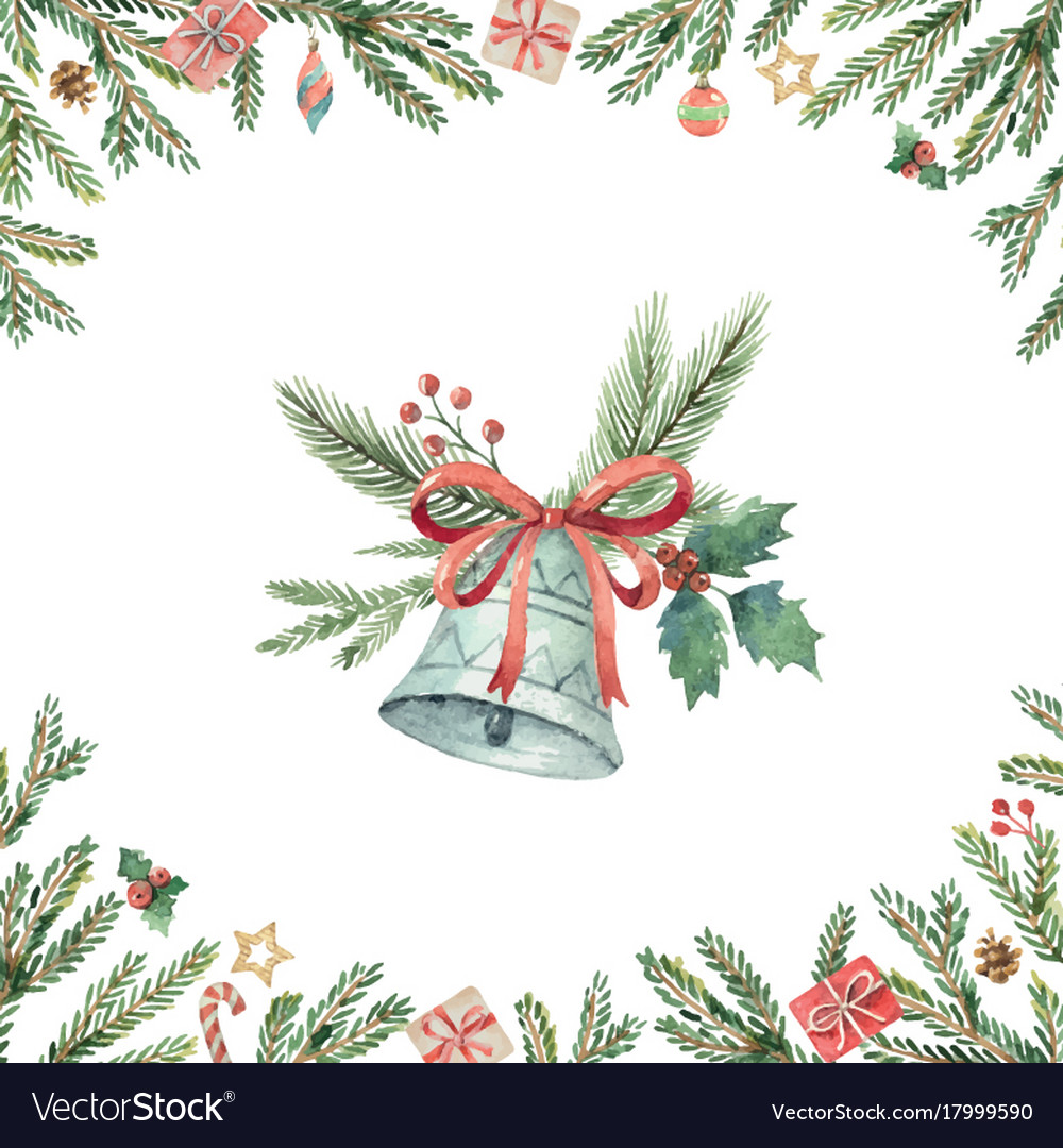 Watercolor christmas card with bell and fir Vector Image