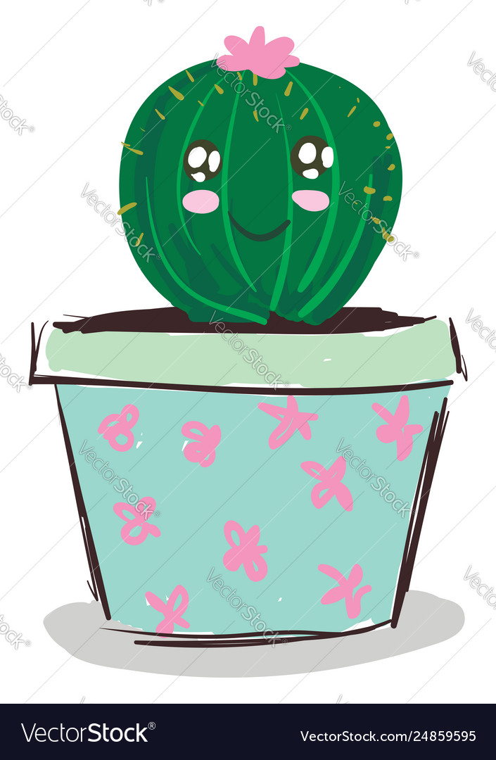 A Happy Cactus Plant Emoji With Pink Flower In A Vector Image