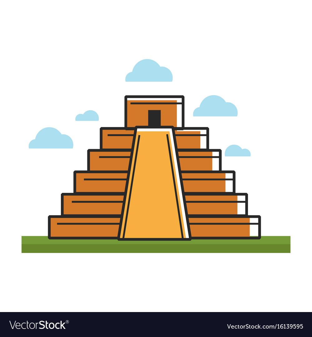 Ancient mayan pyramid on green grass under sky vector image