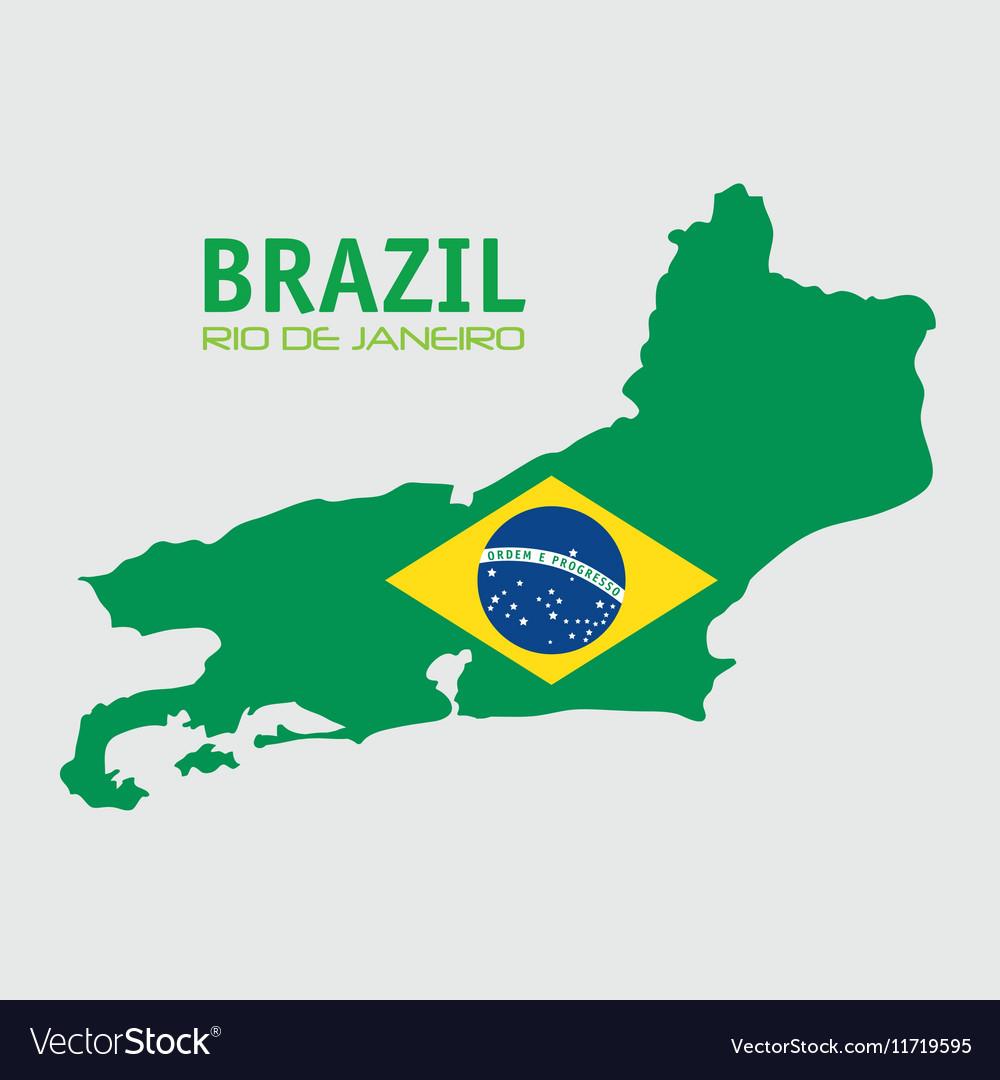 Brazil rio de janeiro map and flag