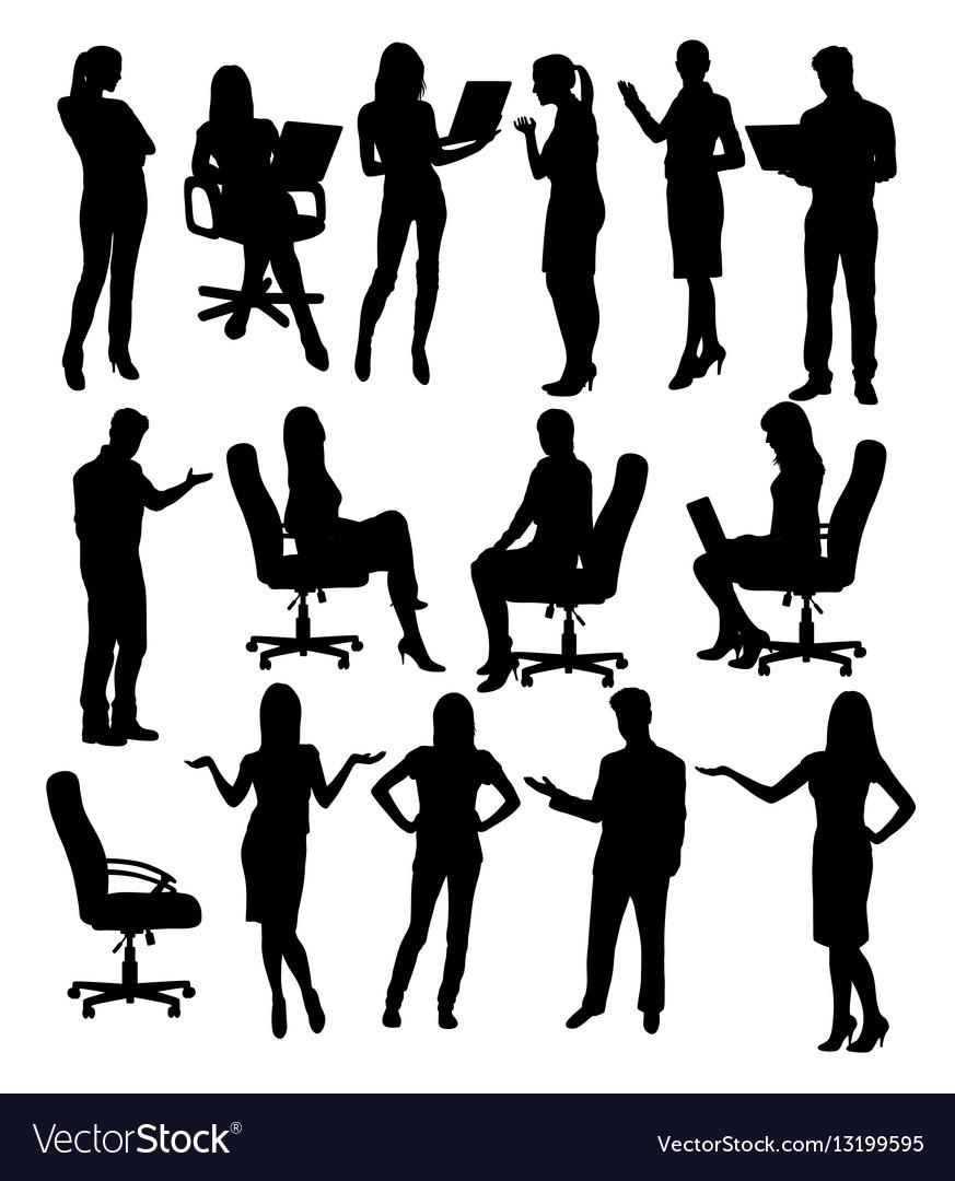 Career silhouette female workers