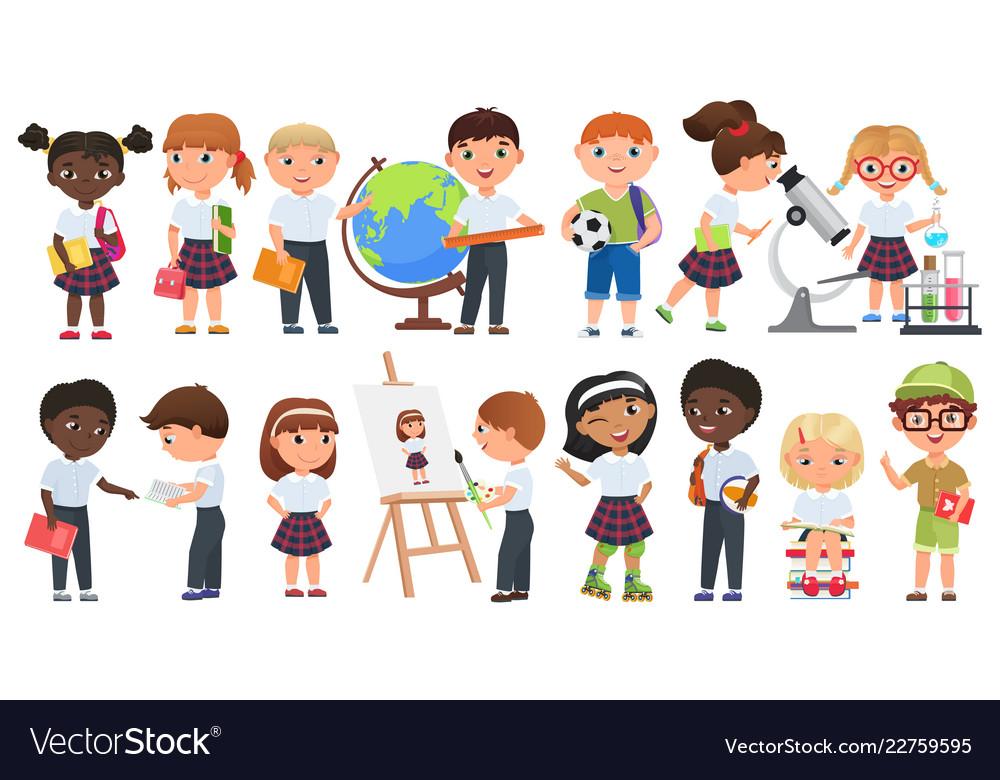 Cartoon cute kids set school boys and girls