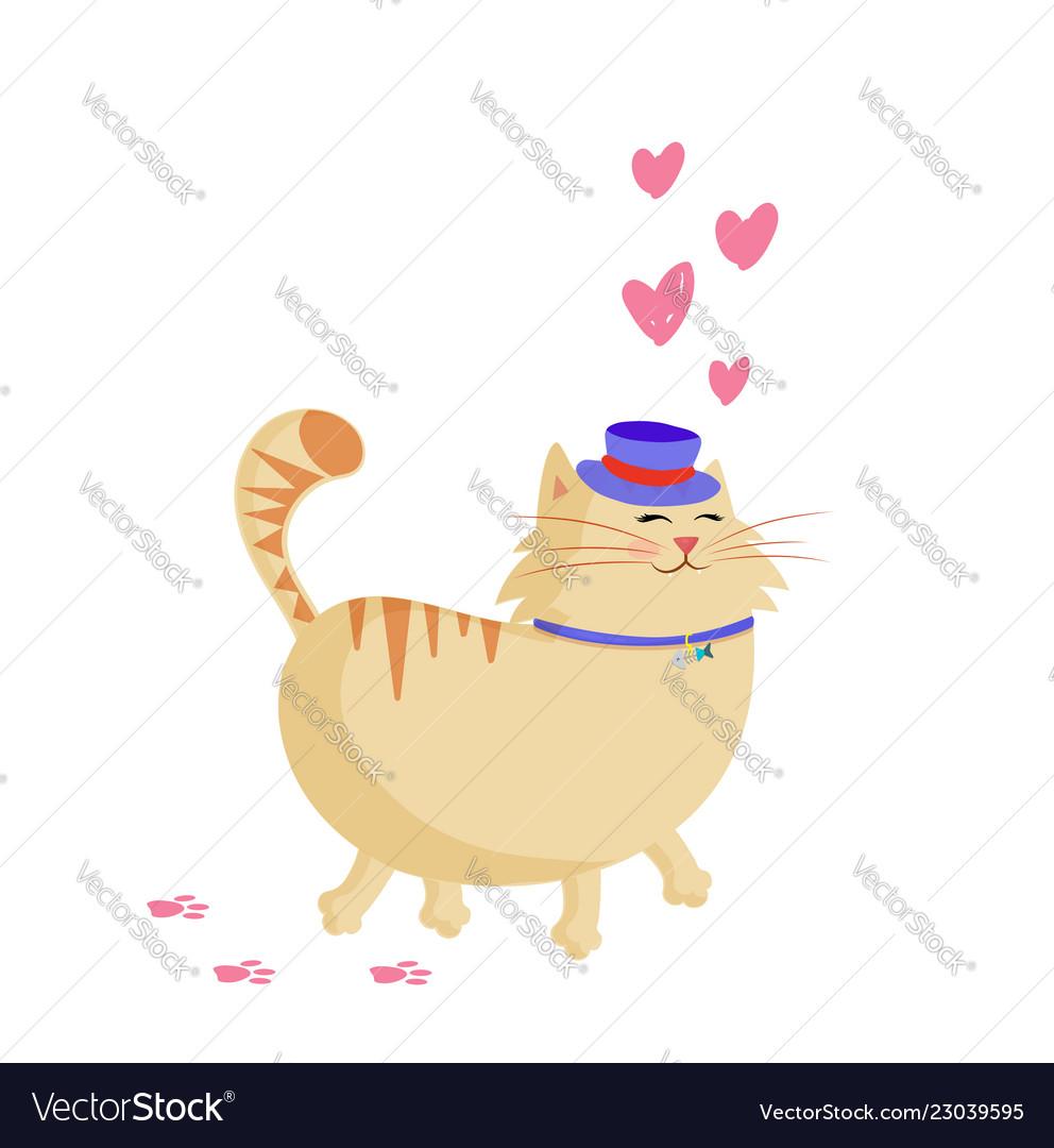 dffc7ba6c28 Cute cartoon smiling ginger cat in top hat Vector Image