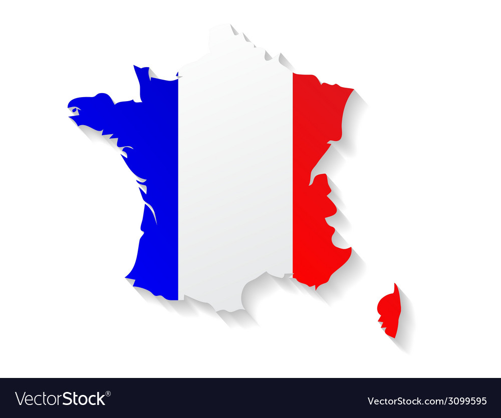 france flag map with shadow effect royalty free vector image